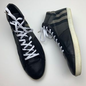 Burberry Check Canvas Leather High Top Sneakers